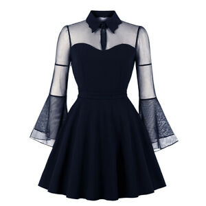 UK Womens Plus Size Dress 50s Rockabilly Halloween Party Gothic Vintage Costumes