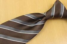 DOLCE & GABBANA Silk Tie Woven Brown Grey White Texture Stripes Made in Italy