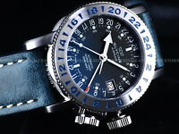 New Glycine 39mm Airman 18 Swiss Made GMT Automatic Blue SS Watch, GL293, 3918