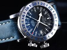 New Glycine 39mm Airman 18 Swiss Made GMT Automatic Blue SS Watch, GL293, 3918