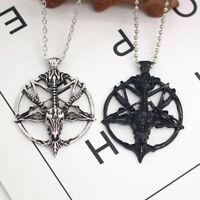 Glück Schmuck Ziegenkopf Schädel Anhänger Halskette Pfanne Gott Pentagramm