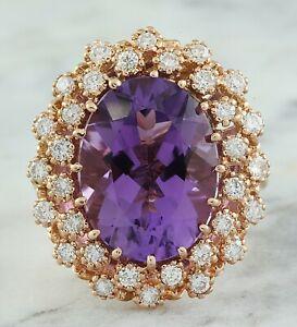 10.48 Carat Natural Amethyst 14K Solid Rose Gold Luxury Diamond Ring