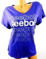 Reebok purple reebok print v neck short sleeve high low plus size active top 1X