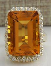 16.61 Carat Natural Citrine 14K Yellow Gold Diamond Ring