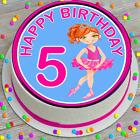 PRECUT EDIBLE ICING 5TH BIRTHDAY BALLET DANCER 7.5 INCH ROUND CAKE TOPPER CC7128