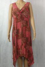 Scarlett Womens Dress Sz 11/12 Sleeveless VNeck Shark Bite Hem Lined Red Pattern