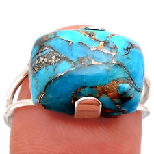 Copper Blue Turquoise - Arizona 925 Sterling Silver Ring s.9 Jewelry 8760