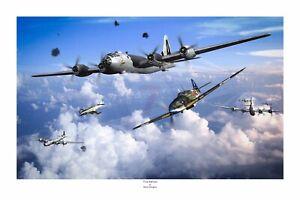 "WWII WW2 B29 B-29 Superfortress Ki-61 Tony Aviation Art Photo Print - 12"" X 18"""