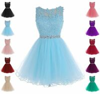 Formal Short Lace Tulle Ball Homecoming Prom Cocktail Bridesmaid Evening Dress 5