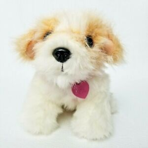 """Barbie Light Up Heart Interactive White Puppy Dog 12"""" Plush BE-137 Barks Whines"""