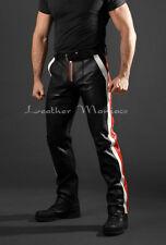 racer-pants avec des rayures ROUGE-BLANC Jean en cuir pantalon en cuir