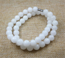 """jade beads necklace 18"""" 10Pcs 10Mm 100% Natural White"""