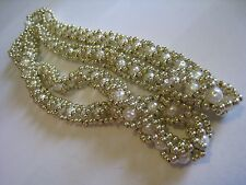 Continuous Strand Necklace W/Faux Pearl & Woven Gold Tone Beads, Unmarked, 40""