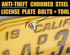 ANTI—THEFT LICENSE PLATE SECURITY CHROME METAL BOLTS SCREW ANTIQUE YOM TAB FRAME