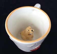 3D Dog Sitting Inside Coffee Java Mug Cup Fire Hydrant Bones Embossed HomeETC