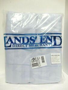 Lands' End Frost Blue Sateen Stripe Queen Sheet Set for Shorter Mattress NEW