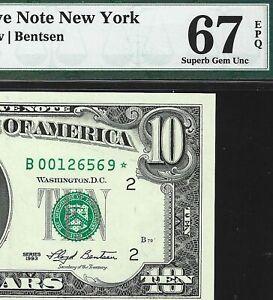 1993 $10 STAR NOTE == PMG 67 EPQ == SUPER HIGH GRADE == SMALL HEAD