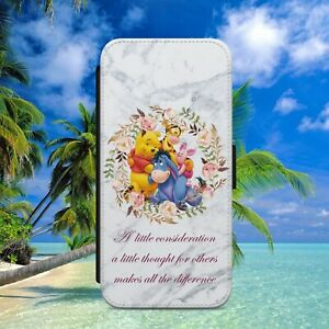 WINNIE THE POOH EEYORE QUOTE FLIP WALLET PHONE CASE FOR IPHONE SAMSUNG HUAWEI
