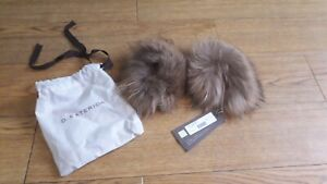 D.Exterior real raccoon fur cuffs.RRP £130.Brown.Transform your jacket.Real fur.