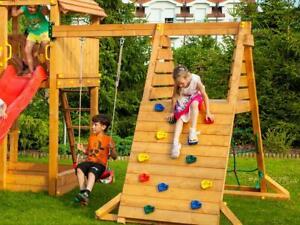 Spielturm Anbau für Kinder Klettergerüst Holz Kletterwand Schaukel mit Sitz
