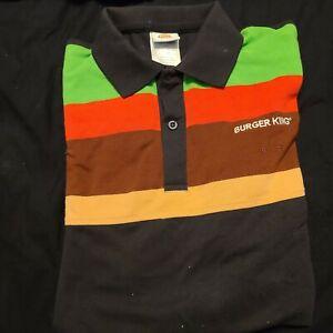 Burger King Employee Uniform Polo Shirt Size Medium Unisex Retro Pre-owned