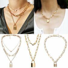 PUNK Lock Padlock Locket Pendant Necklace Silver Gold Chain Chunky Jewellery NEW