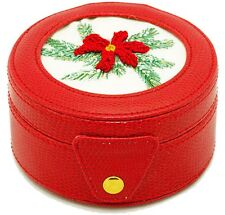Needlepoint Lee Gift Box Leather Red