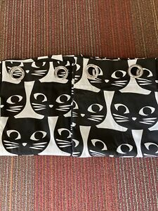 "IKEA Mattram Retro Black Cat Curtains 2 Panels 57"" x 98"" Black & White  NEW COND"
