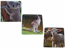 3x 15cm Square Wooden Puzzles Australian Animals Ages 18mth+ New -Free Postage
