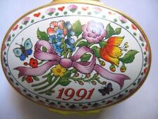 Halcyon Days Enameled Box - 1991, Year To Remember - W/ Box