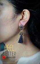 Boucle d`Oreilles Fashion CLIP Doré Bleu Pompon Perle Creux Ethnique Retro YW4