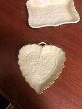 2-Lenox Heart Shaped Jewelry Dish Wedding Promises Collection Gold Trim
