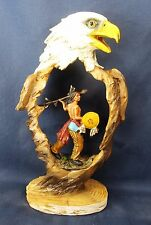 Eagle w/ Warrior Carved Resin Figurine Southwestern Home Decor