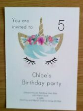 10 x personalised unicorn crown party invitations glitter birthday girl rainbow
