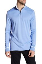 NWT $200 Robert Graham Harbor Blue Long Sleeve Polo Pullover Sweater Top Men's M