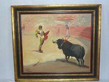 Vtg Mid Century Modernist Matador Bullfight Oil Painting Signed Millan Lamas?