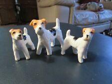 Vintage Miniature Fox Terrier Dog Figurines - Set of 3 - Japan
