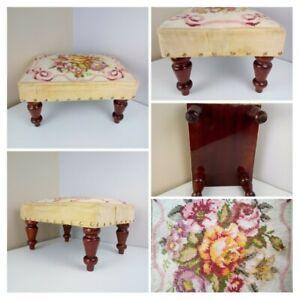 VINTAGE MID CENTURY - Rectangular Cream Floral Tapestry Footstool Step Seat wood