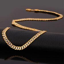 Damen Herren Echt 750er Gold 18K Gelbgold Panzerkette Halskette vergoldet Platin