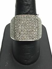 Big Mens 14K White Gold Pave' 3.00 Ct Round Diamond Row Cluster Ring 12.9 Grams