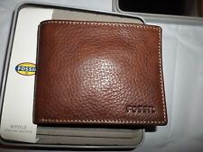 Fossil Men's Lincoln Bifold Brown Leather Wallet NWT