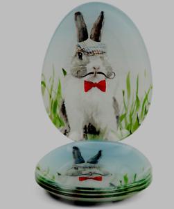 Golfer Bunny Plates Set of 4 Appetizer or Dessert Spring Easter