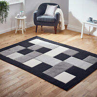 Modern Large Box Sale Geometric Thick Black Grey Quality Area Low Cost Rugs