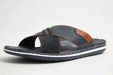 Rieker Pantoletten blau Leder komfort Fußbett Vintage Herren