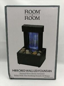 Room 2 Room Mirrored Walled Tabletop Fountain - Natural River Rocks Included