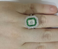 Emerald Vintage Diamond Ring Wedding Engagement White Gold Finish Soulmate Ring
