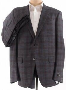 Ermenegildo Zegna NWT Suit SZ 44R Gray Brown Plaid Wool Silk Milano Easy $3,395