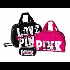 Victorias Secret Pink RARE 3 Pc Wheelie Luggage Set Suitcase Carry On Duffle Bag