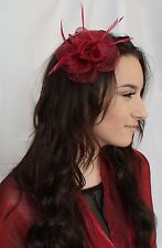 Burgundy Dark Red Ruby Wine Net Flower Feather Fascinator Bead Hair Clip brooch