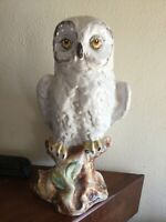 """Vintage Signed Snowy  White Owl Large 13"""" Ceramic Figurine Statue Italy"""